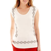 Liz Claiborne® Sleeveless V-Neck Knit Top
