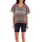 Liz Claiborne® V-Neck Scarf Print Top and Roll Cuffed Denim Shorts