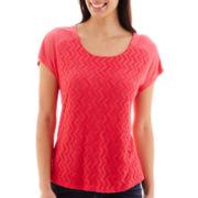 Liz Claiborne® Short-Sleeve Lace-Front T-Shirt