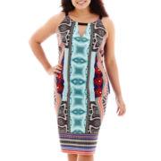 Bisou Bisou® Scuba Top or Back-Slit Pencil Scuba Skirt - Plus