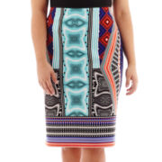 Bisou Bisou® Back-Slit Scuba Pencil Skirt - Plus