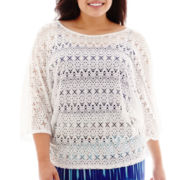 Bisou Bisou® 3/4 Dolman-Sleeve Crochet Lace Top - Plus
