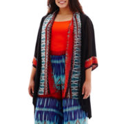 Bisou Bisou® 3/4-Sleeve Print Tunic Flyaway Shrug - Plus