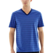 Claiborne® Fine-Striped V-Neck Tee