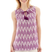 Stylus™ Sleeveless Chevron Print Tassle-Tie Top - Tall