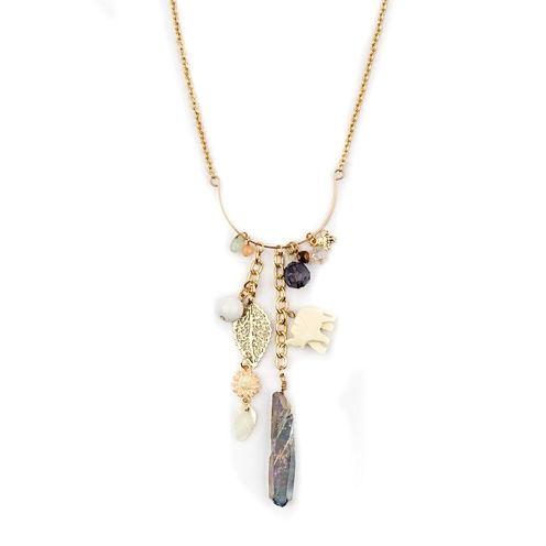 Decree® Gold-Tone Link Chain Charm Drop Necklace