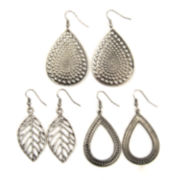 Arizona 3-pr. Silver-Tone Textured Teardrop Earrings