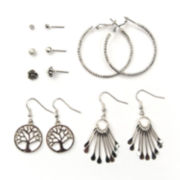 Arizona 6-pr. Silver-Tone Earring Set