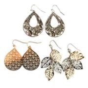 Arizona 3-pr. Leaf Teardrop Earrings