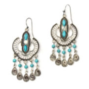 Arizona Blue Silver-Tone Textured Open Cab Earrings