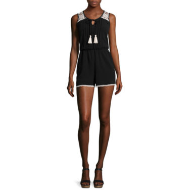 jcpenney.com | My Michelle® Sleeveless Crochet-Shoulder Romper
