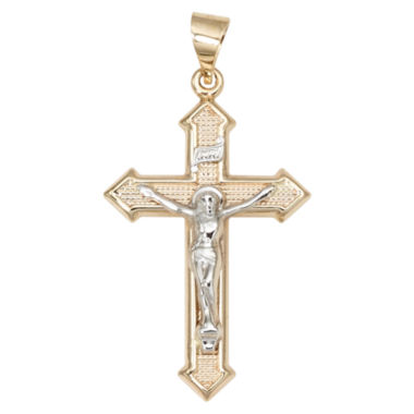 jcpenney.com | 14K Two-Tone Gold Textured Crucifix Charm Pendant