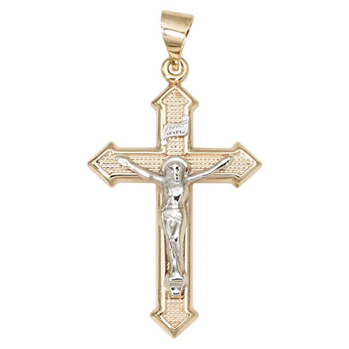 14K Two-Tone Gold Textured Crucifix Charm Pendant