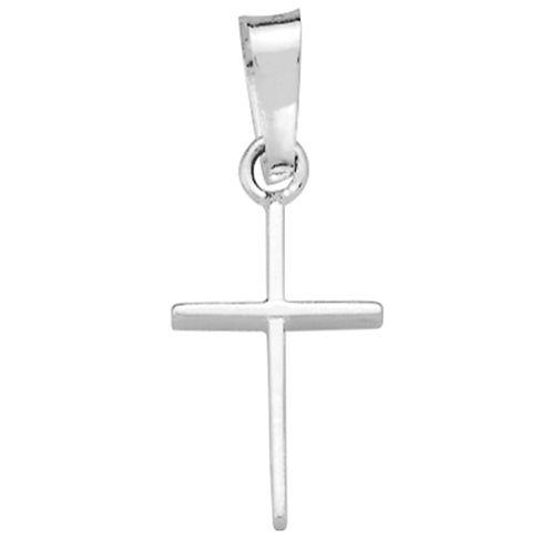 14K White Gold Polished Cross Charm Pendant
