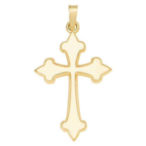 14K Yellow Gold Polished Budded Cross Charm Pendant