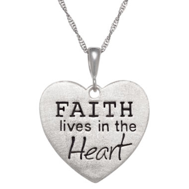 "jcpenney.com | Personalized Sterling Silver ""Faith"" Engravable Heart Pendant Necklace"
