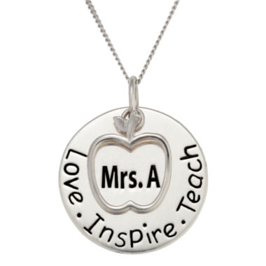 jcpenney.com | Personalized Sterling Silver Teacher's Name Pendant Necklace