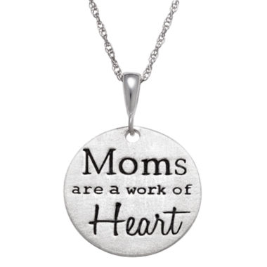 "jcpenney.com | Personalized Sterling Silver ""Moms Are A Work Of Heart"" Engravable Circle Pendant Necklace"