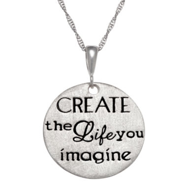 "jcpenney.com | Personalized Sterling Silver ""Create The Life You Imagine"" Engravable Pendant Necklace"