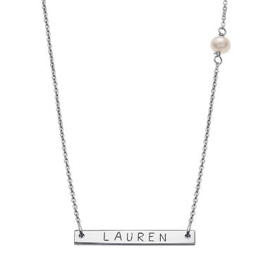 jcpenney.com | Personalized Sterling Silver Fresh Water Pearl Name Bar Necklace