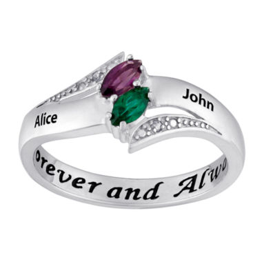 jcpenney.com | Personalized Diamond-Accent Couple's Name Marquise Birthstone Ring