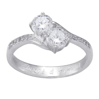 jcpenney.com | Personalized Sterling Silver Cubic Zirconia Two-Stone Engravable Engagement Ring