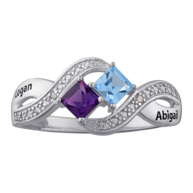jcpenney.com | Personalized Diamond-Accent Couple's Name Birthstone Crossover Ring