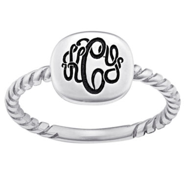jcpenney.com | Personalized Sterling Silver Script Monogram Signet Ring
