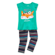 Okie Dokie Short-Sleeve Flutter Tee or Striped Leggings - Baby Girls newborn-24m