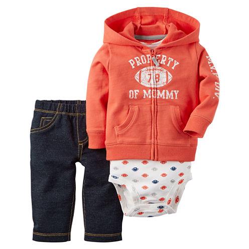 Carter's® 3-pc. Football Cardigan and Pants Set - Baby Boys newborn-24m