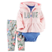 Carter's® 3-pc. Pink Love Cardigan and Pants Set - Baby Girls newborn-24m