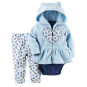 Carter's® 3-pc. Heart Cardigan and Pants Set - Baby Girls newborn-24m