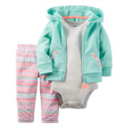 Carter's® 3-pc. Cardigan and Pants Set - Baby Girls newborn-24m