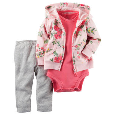 jcpenney.com | Carter's® 3-pc. Floral Cardigan and Pants Set - Baby Girls newborn-24m