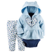 Carter's® 3-pc. Floral Heart Cardigan and Pants Set - Baby Girls newborn-24m