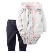 Carter's® 3-pc. Floral Cardigan and Pants Set - Baby Girls newborn-24m