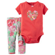 Carter's® 2-pc. Floral Bodysuit and Pants Set - Baby Girls newborn-24m