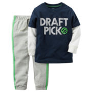 Carter's® 2-pc. Playwear Long-Sleeve Tee & Pants Set - Baby Boys newborn-24m
