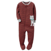 Carter's® Boy Long-Sleeve Dog Stripe Footed Pajamas - Baby Boys newborn-24m