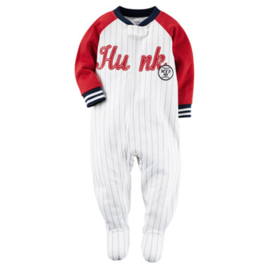 jcpenney.com | Carter's® Boy Long-Sleeve Hunk Baseball Stripe Footed Pajamas - Baby Boys newborn-24m