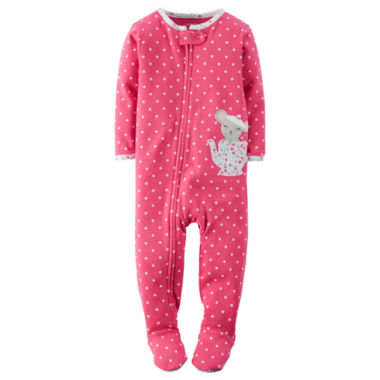 jcpenney.com | Carter's® Girl Long-Sleeve Teapot Dot Footed Pajamas - Baby Girls newborn-24m
