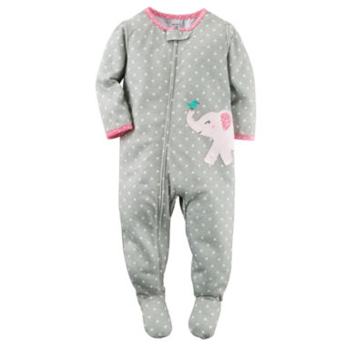 jcpenney.com | Carter's® Girl Long-Sleeve Elephant Dot Footed Pajamas - Toddler Girls 2t-5t