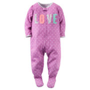 Carter's® Girl Long-Sleeve Love Dot Footed Pajamas - Toddler Girls 2t-5t