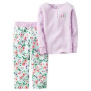 Carter's® 2-pc. Purple Stripe Fleece Pajama Set - Baby Girls newborn-24m