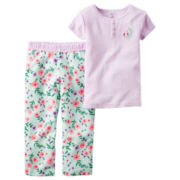 Carter's® 2-pc. Purple Stripe Fleece Pajama Set - Baby Girls newborn-24m