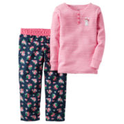 Carter's® 2-pc. Pink Stripe Fleece Pajama Set - Baby Girls newborn-24m