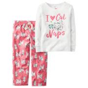Carter's® 2-pc. I Love Cat Naps Fleece Pajama Set - Baby Girls newborn-24m