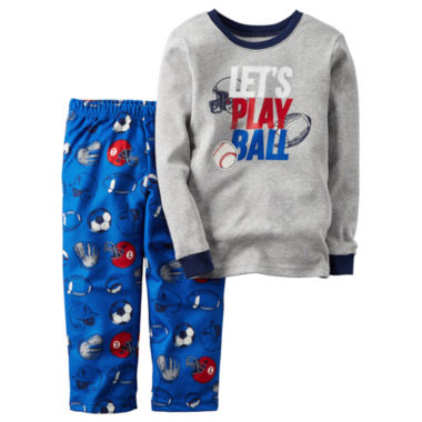 jcpenney.com | Carter's® 2-pc. Gray Draft Pick Fleece Pajama Set - Baby Boys newborn-24m