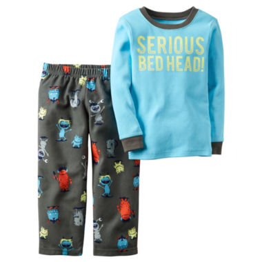 jcpenney.com | Carter's® 2-pc. Serious Bedhead Fleece Pajama Set - Toddler Boys 2t-5t