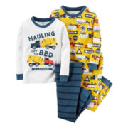 Carter's® 4-pc. Construction Pajama Set - Toddler Boys 2t-5t